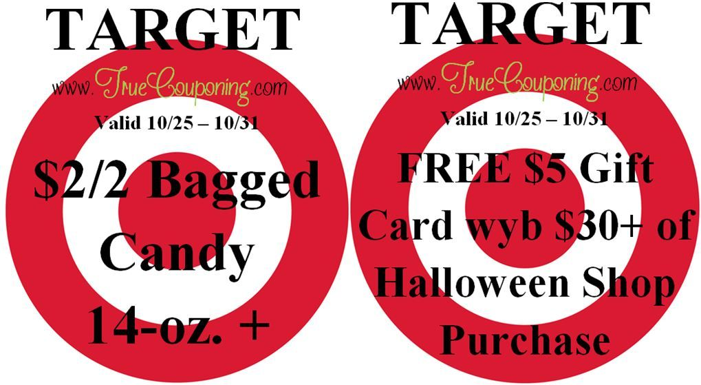Special Coupons in 10/25 Sunday Newspaper: Target $2/2 Bagged Candy & FREE $5 GC wyb $30 + Halloween Shop Purchase!