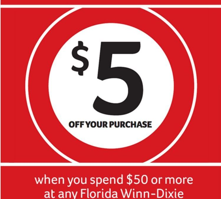Special Coupon in TODAY's, 10/16 Newspaper: Winn Dixie $5/$50+ ~ Valid 10/16 – 10/18 (Florida Locations Only)!