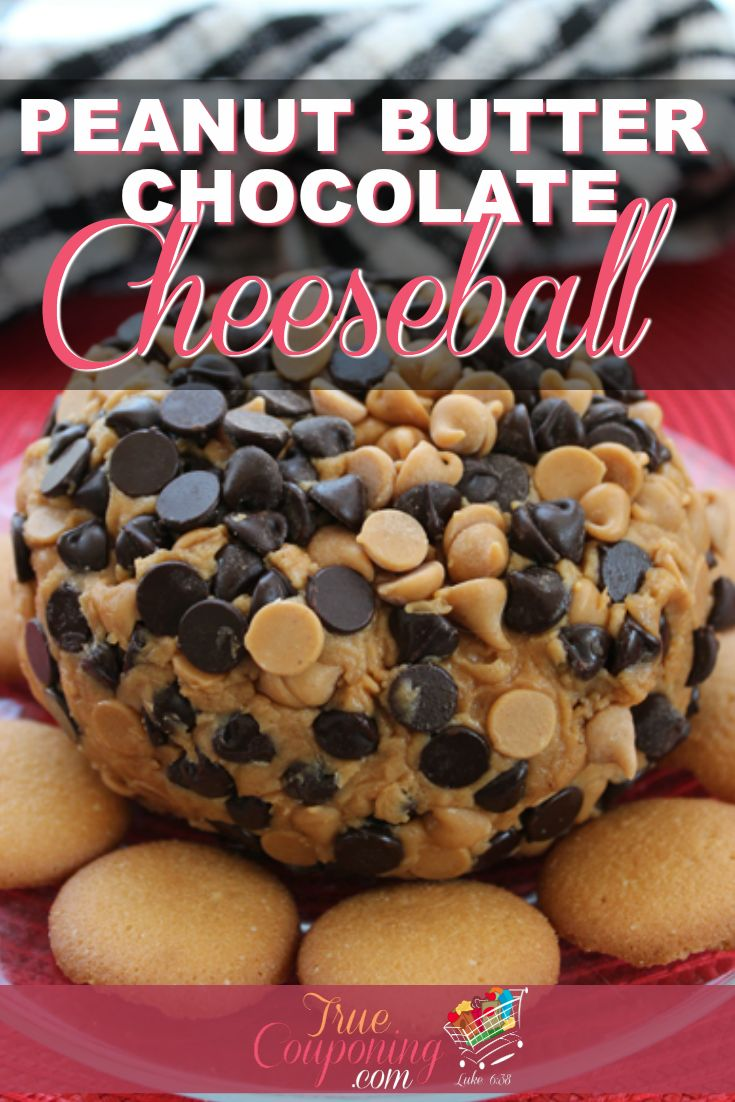 Quick and easy party recipe that\'s a little different but oh so delicious! Peanut Butter and Chocolate melded together in a classic cheeseball twist! #truecouponing #nomnom