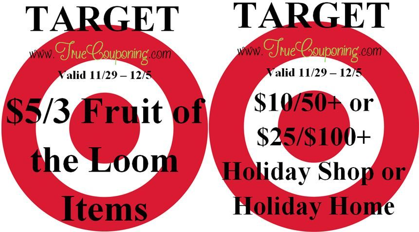 {REMINDER} Saturday is the Last Day to use the Target $10/$50+ OR $25/$100+ Holiday & $5/3 Fruit of the Loom!