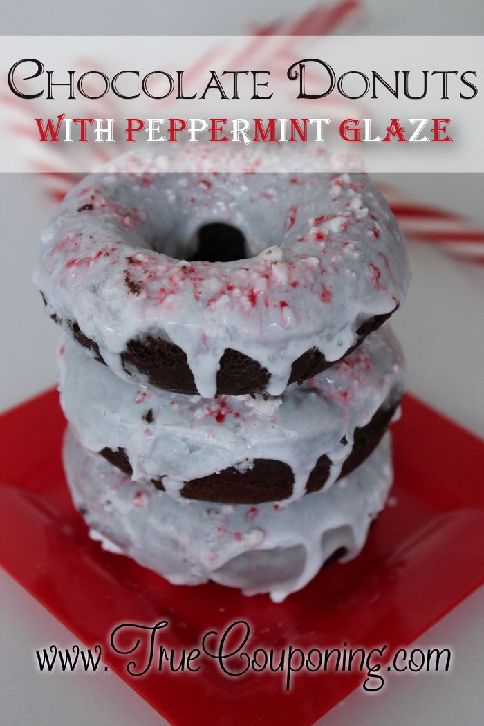 Baked Chocolate Donuts with Peppermint Glaze
