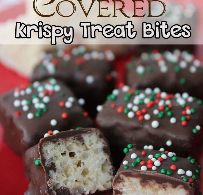 The Best Christmas Chocolate Covered Rice Krispy Treat Bites