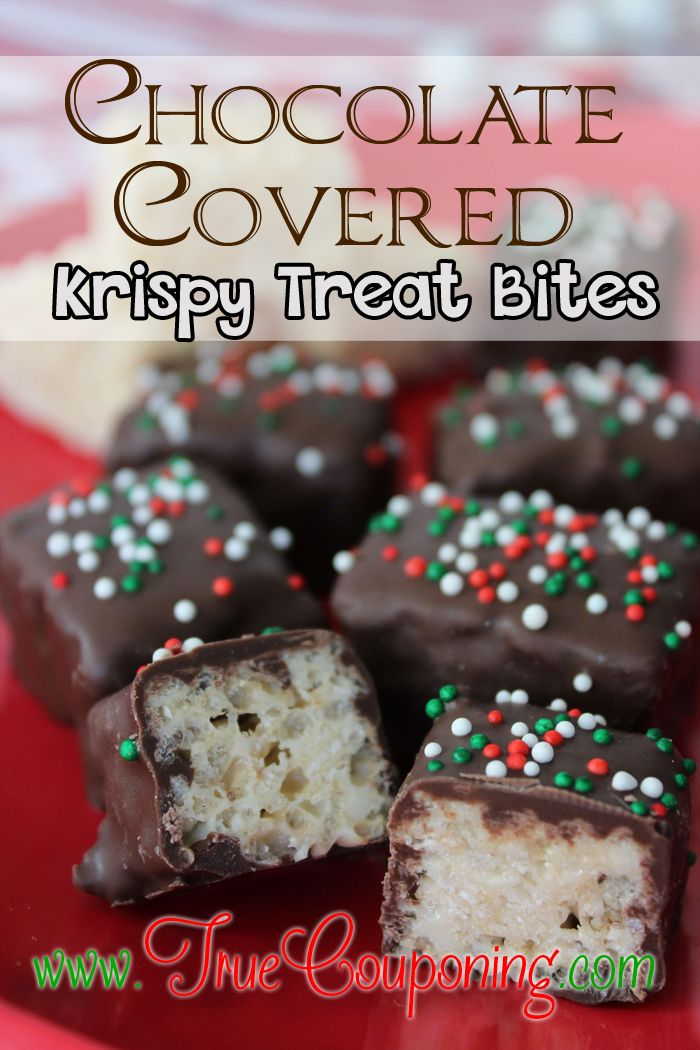 The Best Christmas Chocolate Covered Rice Krispy Treat Bites