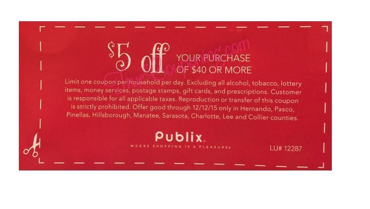 Publix $5 off $40 SQ 12-6-15