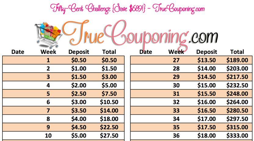 50 cent money saving challenge