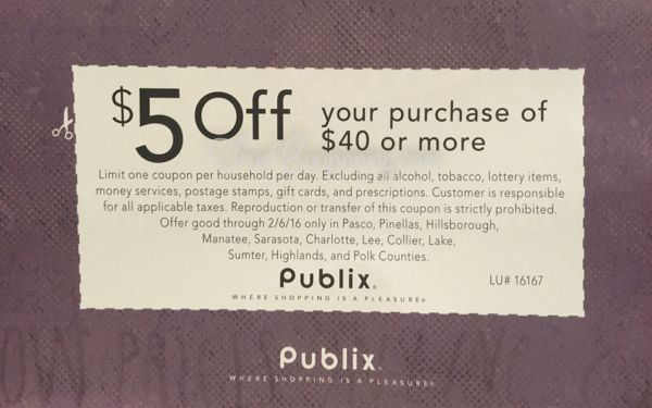 Publix $5 Off $40 in Sunday's 1/31/16 Newspaper {POLK County FL is INCLUDED this Time!}