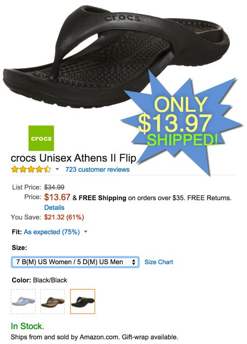 fa4c2c1099d Crocs Athens II Flip Flop · Shipping is FREE with Amazon Prime or a  35  total purchase