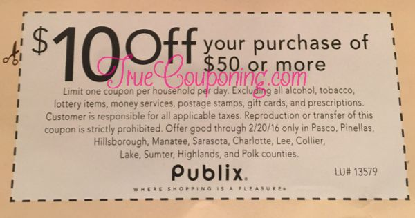 Publix $10 Off $50 in Sunday's 2/14/16 Newspaper {Might Be Home Delivery Only!}