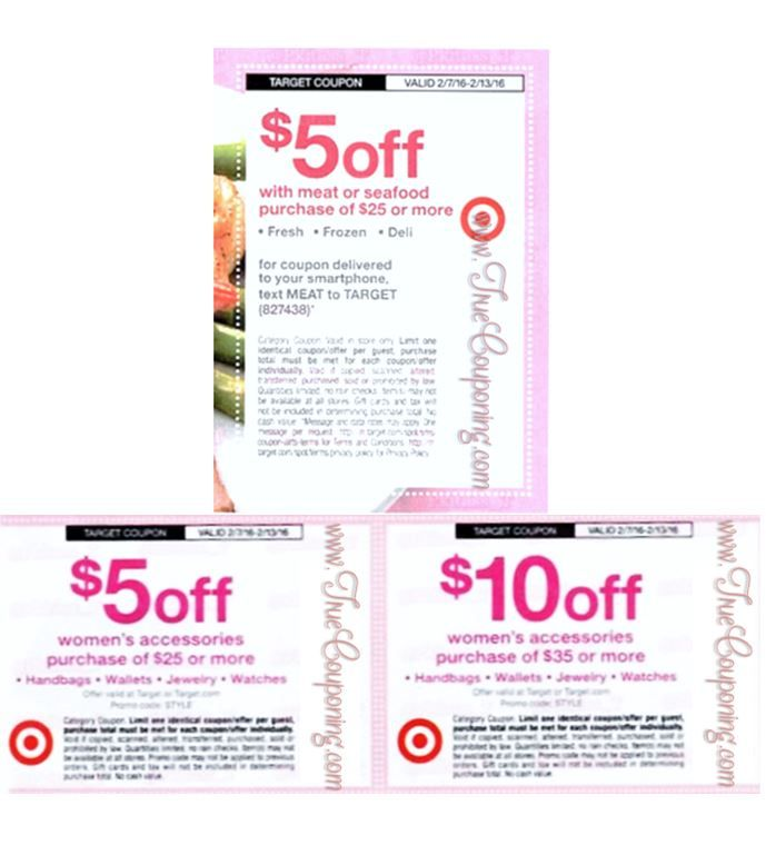 Special Coupons in 2/7 Sunday Newspaper: Target $5/$25+ Meat Purchase & $5/$25+ or $10/$35+ Women's Accessories!