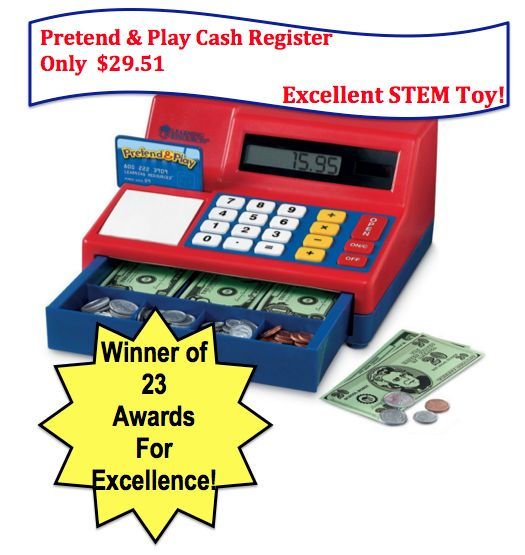 A Great STEM Toy! Pretend and Play Calculator Cash Register $29.51! Ships FREE with Prime!