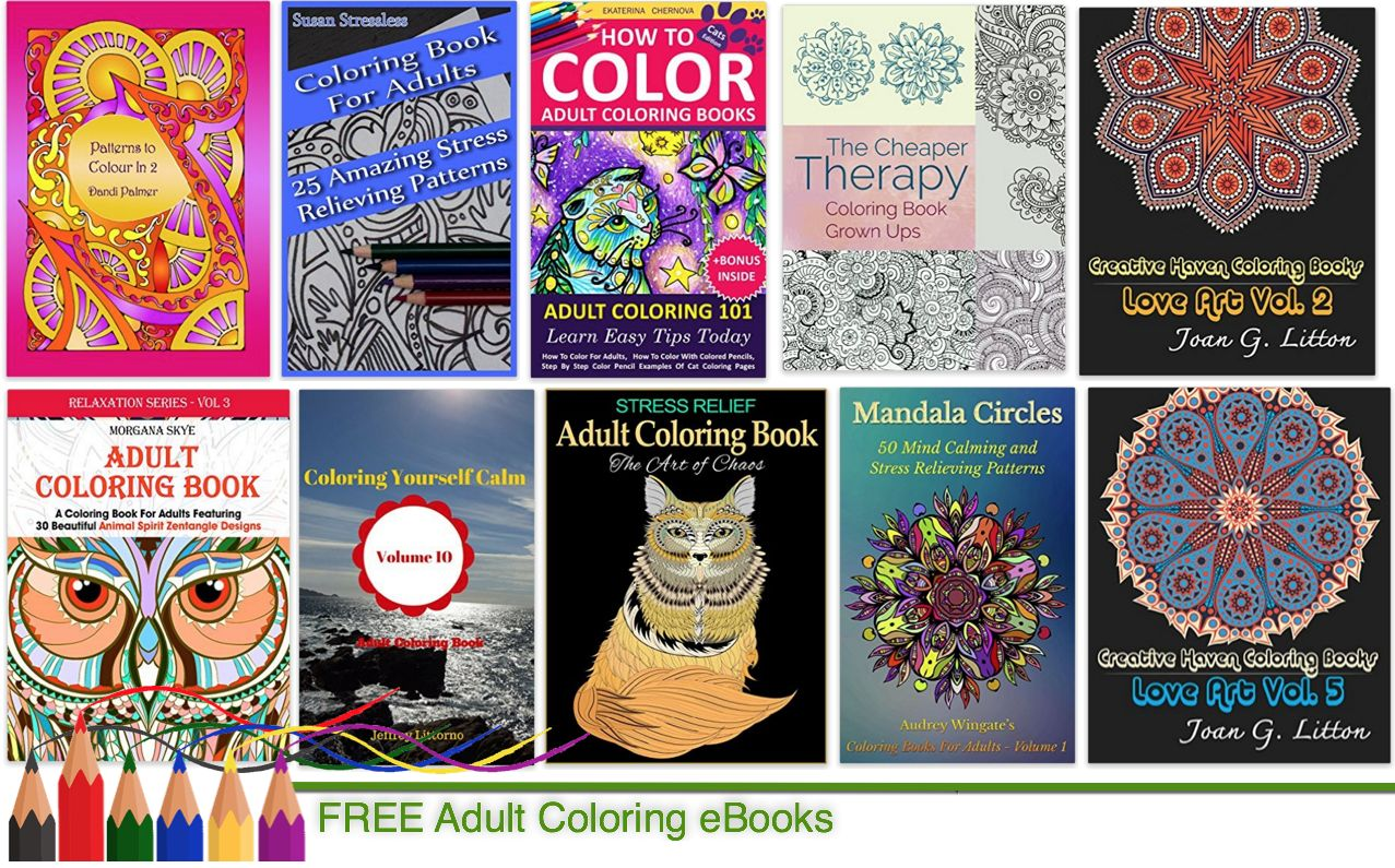 Ten free adult coloring ebooks to reduce mom stress Free coloring books for adults by mail