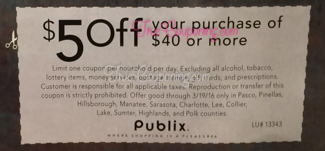 Publix $5 Off $40 3-13-16