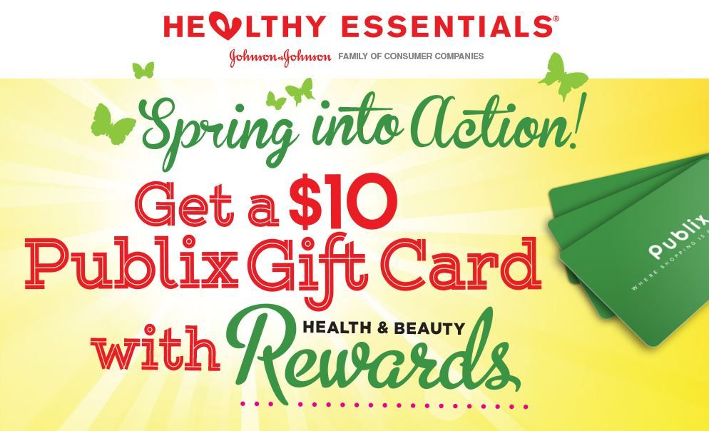 FREE $10 Publix Gift Card with Johnson & Johnson Healthy Beauty Rewards (Valid Till 4/30/16)