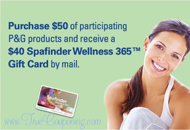 FREE $40 Spafinder Gift Card wyb $50 of P&G Products at Publix NOW! (Valid till 4/17/16)