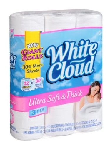 white cloud bathroom tissue white cloud ultra soft amp thick bath tissue 12 rolls 21511 | White Cloud