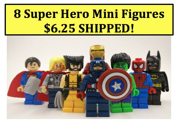 SUPER HEROES Mini Figures Set of 8 just $6.25 SHIPPED!