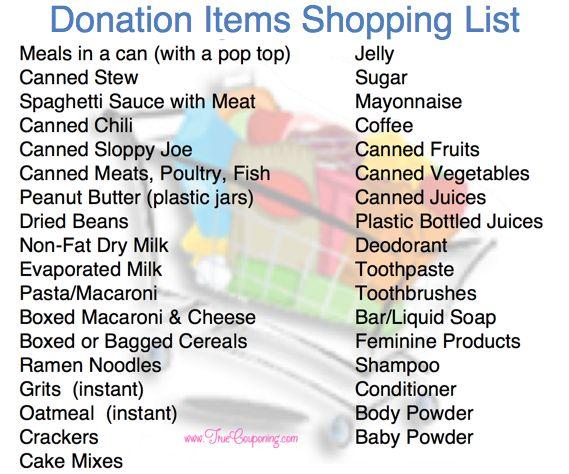Donation Items Shopping List