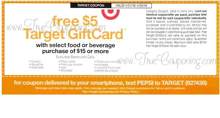 Special Coupon in 4/24 Sunday Newspaper: Target FREE $5 Gift Card wyb $15+ of Select Food or Beverage!