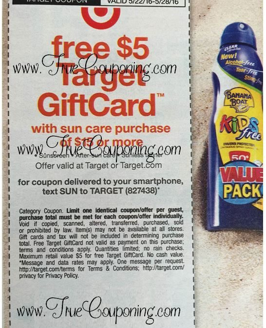Special Coupon in 5/22 Sunday Newspaper: Target FREE $5 Gift Card wyb $15+ of Sun Care!