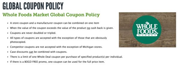 Priceless foods coupon policy