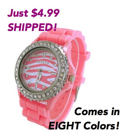 pink zebra face silicone watch