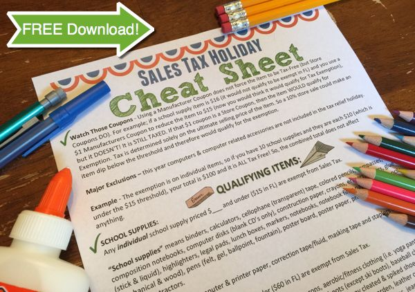 2016 School Supply & Clothing Sales Tax Holiday is Coming! {FREE Cheat Sheet Download!}