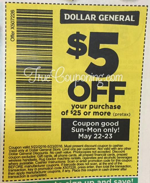 Dollar General $5 Off Coupon