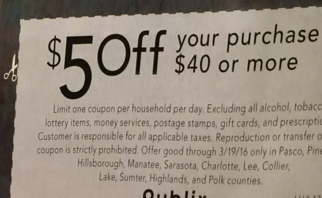 Publix $5 Off $40 Tilted