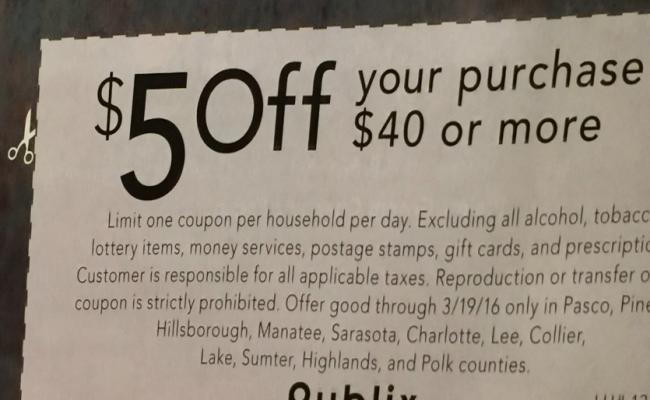 Publix $5 Off $40 Tilted
