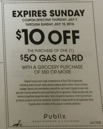 Publix Gas Card Deal