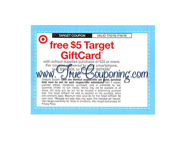 Special Coupon in 7/10/16 Sunday Newspaper: Target FREE $5 Gift Card wyb $25+ of School Supplies!
