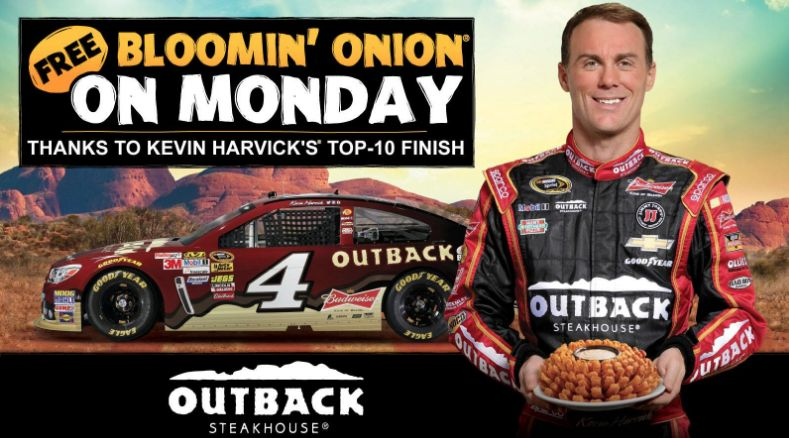 It's a Kevin Harvick THREE-peat! Outback Steakhouse FREE Bloomin' Onion TODAY ONLY 3/12/18!