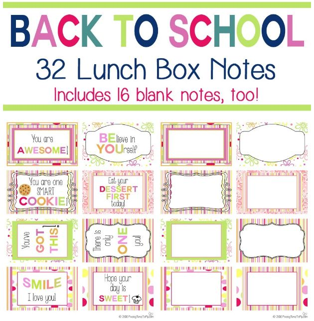 FREE Back to School Printable Lunch Box Notes