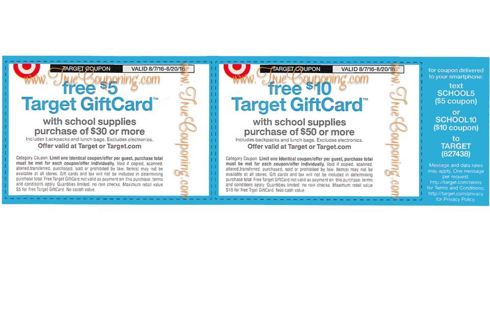 Special Coupon in 8/7/16 Sunday Newspaper: Target FREE $5 & $10 Gift Card School Supplies Purchase Coupons!
