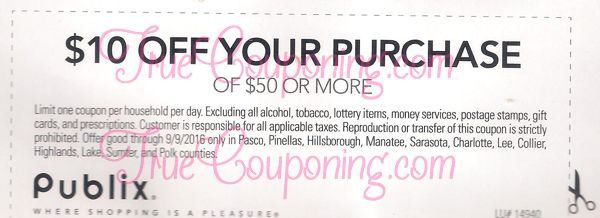 FREE MONEY THIS WEEKEND!! How Does A Publix $10 Off $50 Sound?!! (Select FL Counties)