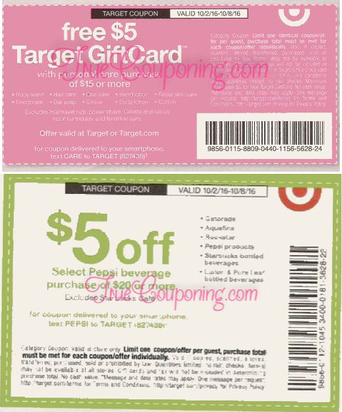 Special Target SQs: $5 Gift Card with $15 Personal Care and $5 Off $20 Pepsi Beverages! Coming Sunday 10/2!