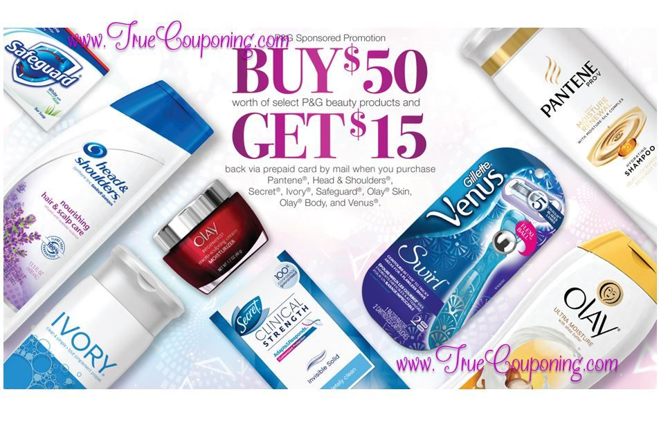 NEW P&G Beauty Rebate: Get a FREE $15 Prepaid Card wyb $50 of P&G Beauty Products! (Valid till 12/31/16)
