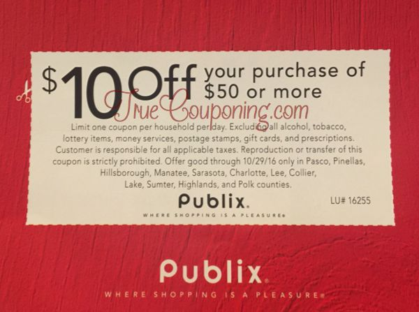 Did You Get The $10 Off Publix Coupon in Today's, 10/23/16 Newspaper! (Select FL Counties)