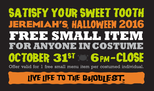 Late Breaking Halloween FREEbie!  Get FREE Jeremiah's Italian Ice TODAY ONLY 6PM to Close!