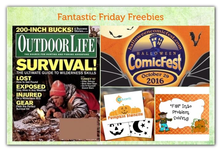 FOUR FREEbies:  Annual Subscription to Outdoor Life Magazine, Comic Book for Halloween, Pumpkin Carving Stencils and Fall Problem Solving Printables!