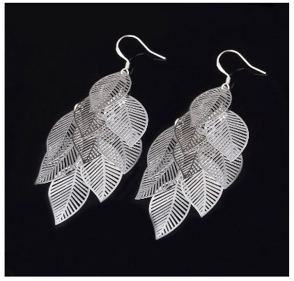 silver leaf earrings 10-26