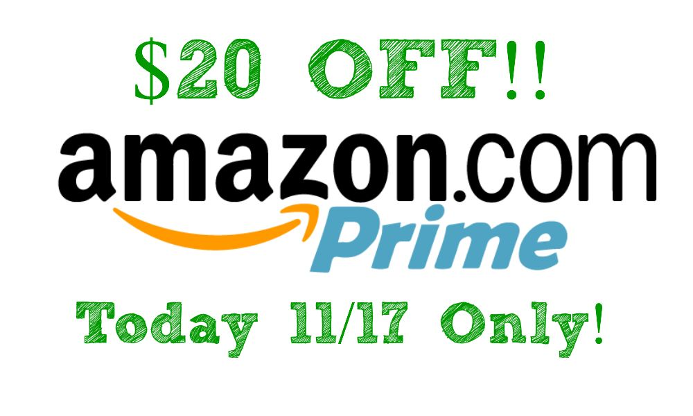 TODAY ONLY!  The Deal You've Been Waiting For! Save $20 on a Prime Membership from Amazon!