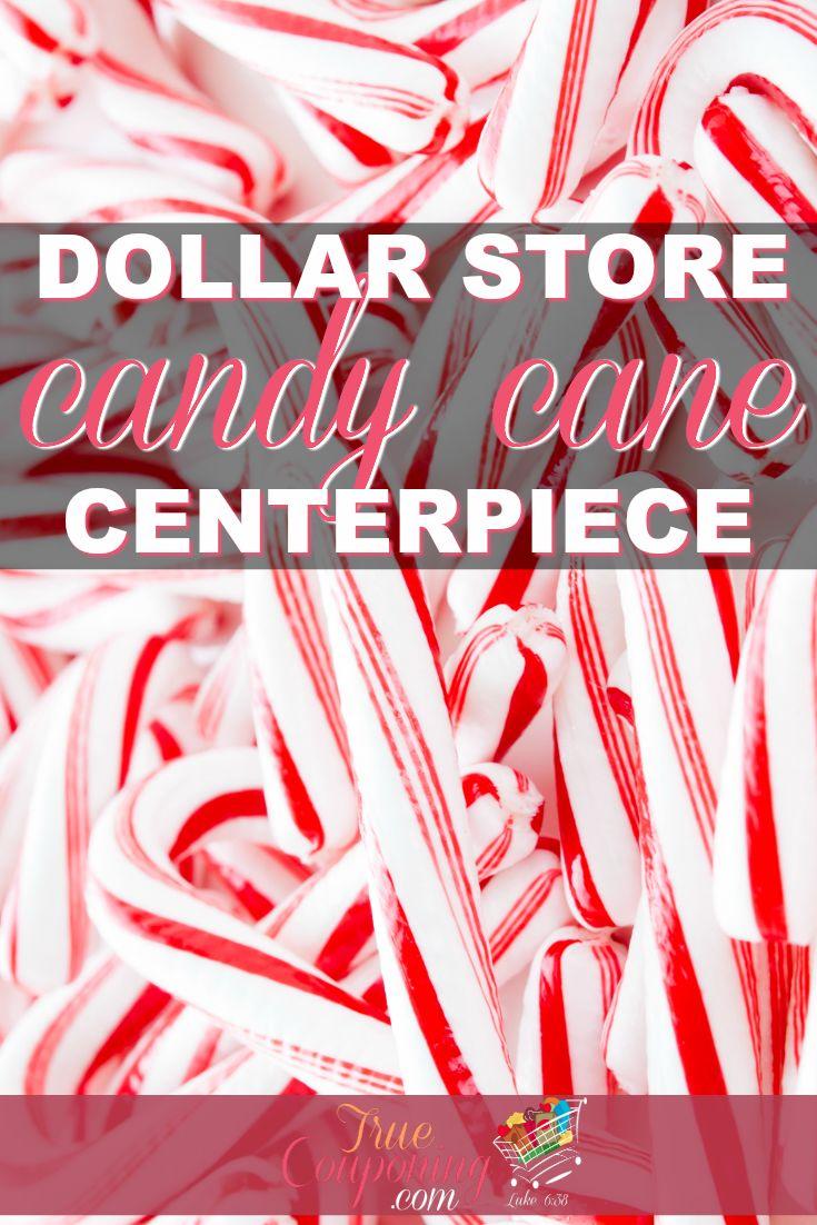 DIY Candy Cane Centerpiece ~ Dollar Store Christmas Craft