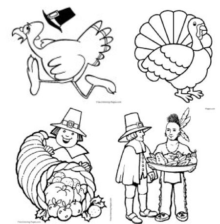 FOUR FREEbies Thanksgiving Printable Coloring Pages Thanksgiving