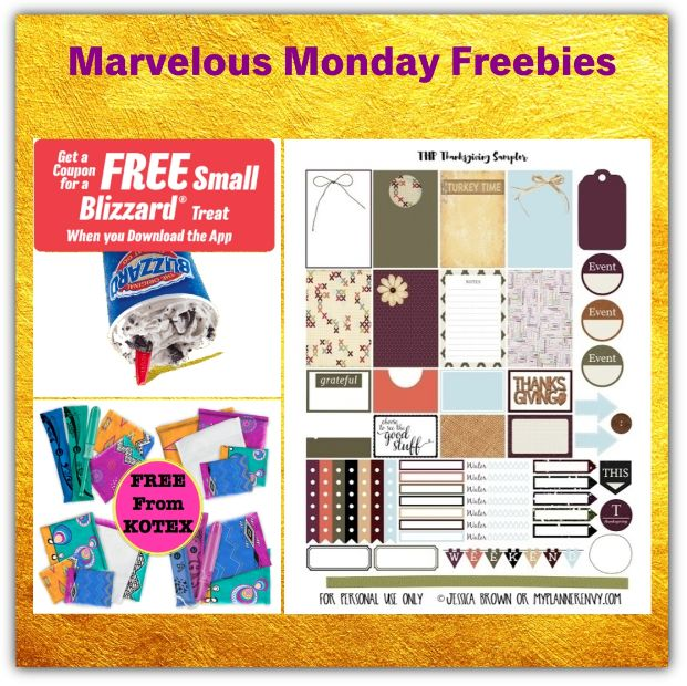 THREE FREEbies: Thanksgiving Planning Stickers Printable, Kotex Products and Dairy Queen Blizzard!