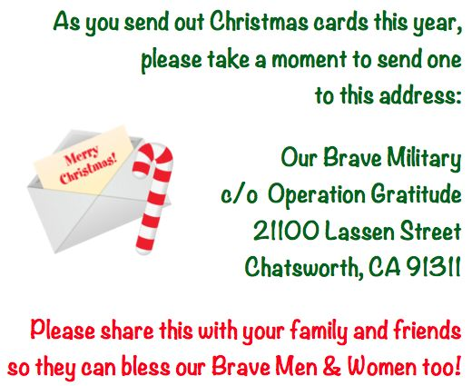 Show Some Love to Our Brave Men & Women Who Serve! Send Them a Christmas Card!