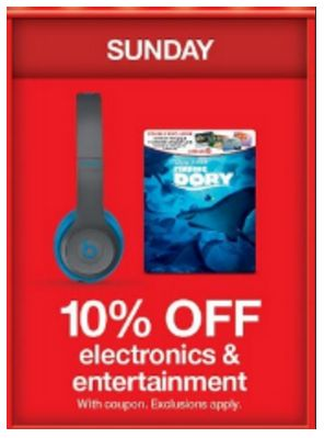 Target's 10 Days of Deals DAY 2!  TODAY ONLY Save 10% Off Electronics and Entertainment!