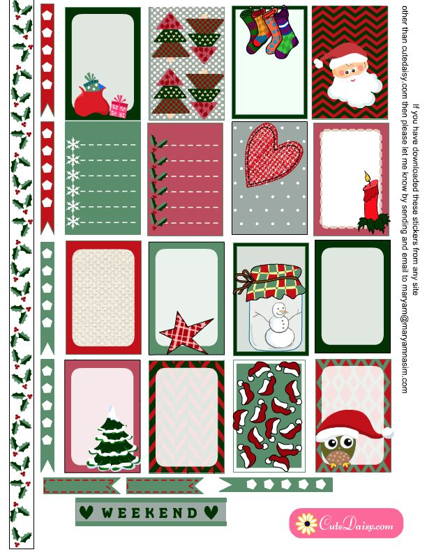 image relating to Printable Christmas Stickers referred to as No cost Printable Xmas Planner Stickers!