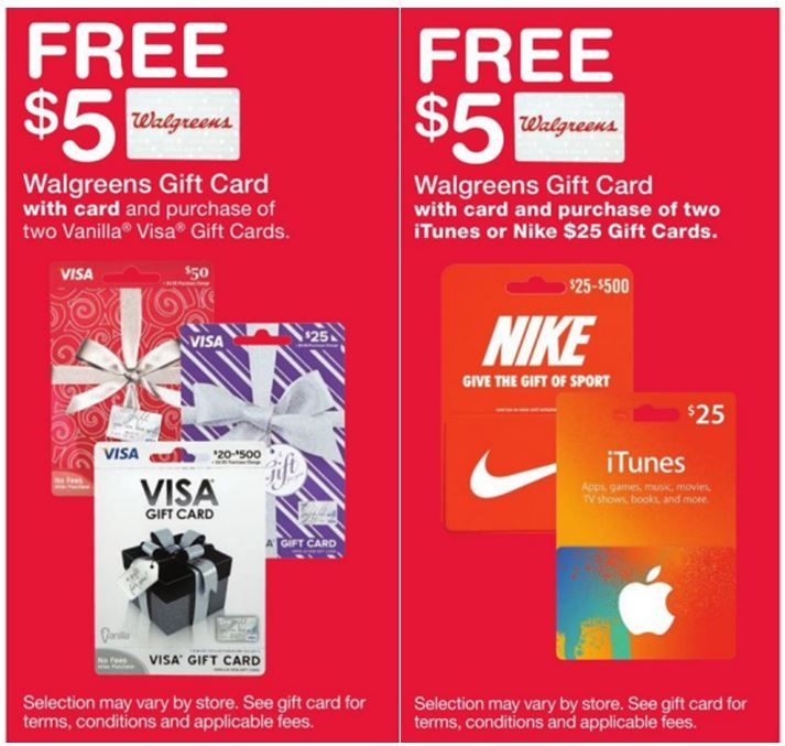 FREE $5 Gift Card wyb Nike, iTunes or Visa Gift Cards at Walgreens ...