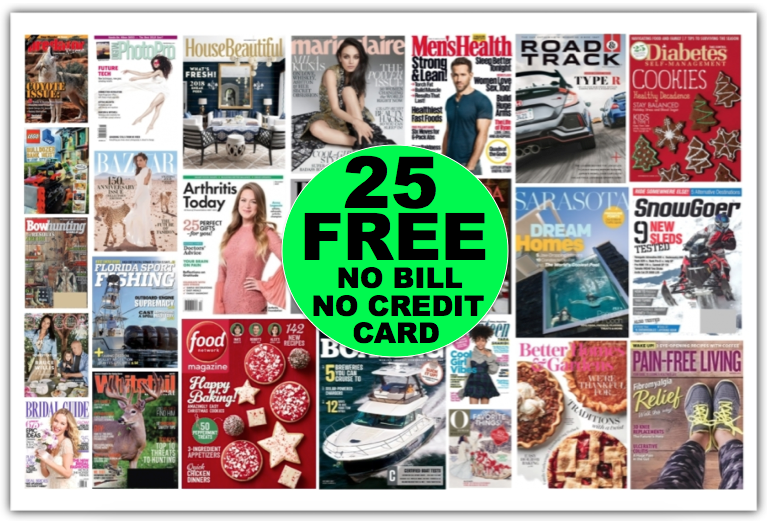 Gift FREE Magazine Subscriptions Like a Year of Food Network {Worth $45} Plus 24 Other FREE Magazines {No Payment Needed & You'll Never Get a Bill!}